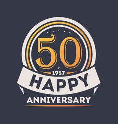 50th years happy anniversary celebration sign vector image