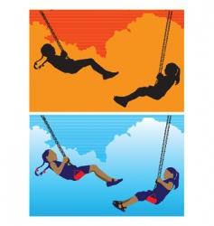 girls on swing vector image vector image