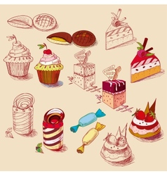 hand drawn confections dessert pastry bakery vector image vector image