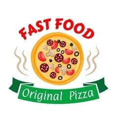 Pepperoni pizza icon for pizzeria menu design vector image vector image