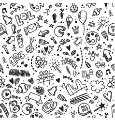 seamless hand drawn doodle pattern back to school vector image vector image