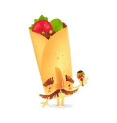 Burrito character with thick eyebrows and vector image