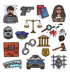 Law icon sketch color vector image