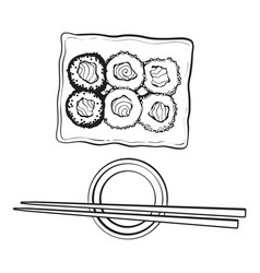 plate of japanese sushi rolls chosticks and soy vector image vector image