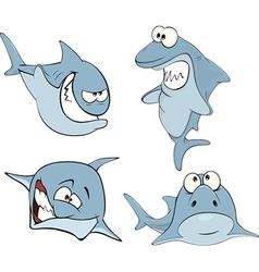Set of cute sharks for you design Cartoon vector image vector image