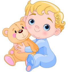 creeping baby amp teddy bear vector image