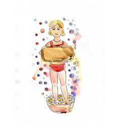 girl with soap vector image
