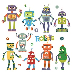 Set of robots in cartoon style vector image