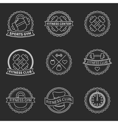 Set of sports and fitness logo emblem graphics vector image