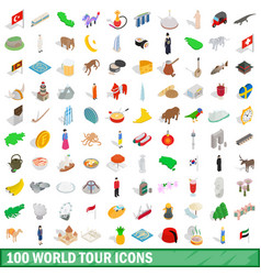100 world tour icons set isometric 3d style vector