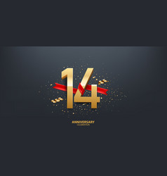 14th year anniversary background vector