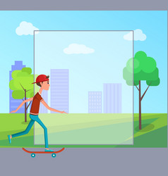 21 june skateboarding day male cartoon character vector