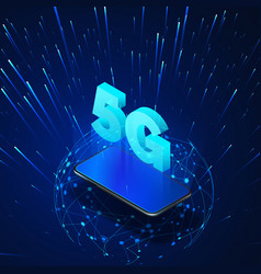 5g mobile phone with hologram and global vector