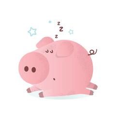 A cute sleeping pink pig vector