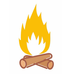 A fire logo with firewood vector