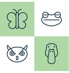 Animal icons set collection of night fowl duck vector