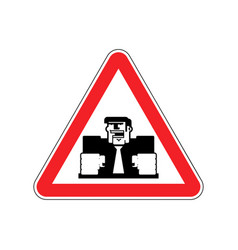 attention angry boss chief to red triangle office vector image