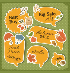 autumn sale orange stickers set vector image