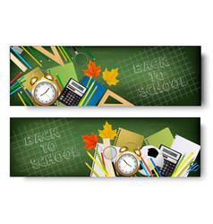 Back to school banners with supplies vector
