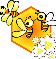 bees in the cell vector image