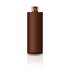 blank brown cosmetic cylinder bottle with cap lid vector image