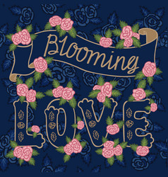 Blooming love colorful romantic vintage art vector