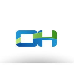 Blue green oh o h alphabet letter logo vector