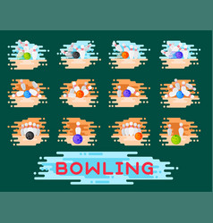 Bowling emblem design template badge item vector