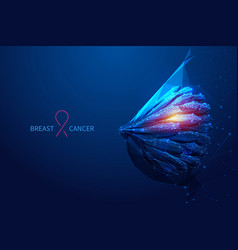 Breast cancer low poly blue vector