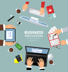 business communication top view finance planning vector image