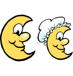 cartoon a happy yellow moon with a bonnet hat vector image