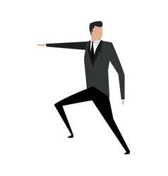 Cartoon businessman in suit successful vector