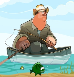 cartoon fisherman is fishing from a boat vector image