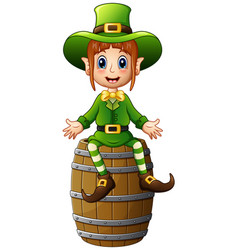 Cartoon girl leprechaun waving with sitting on bar vector