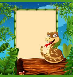 cartoon rattlesnake on hollow log near the empty f vector image