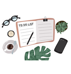 cartoon to do list or planning concept vector image