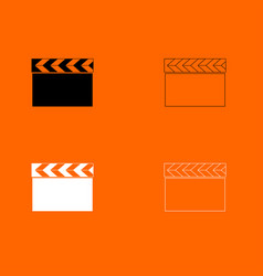 Cinema clapper black and white set icon vector