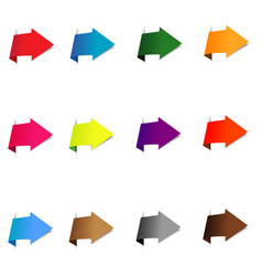 colorful arrow stickers on white background vector image