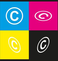 Copyright sign white icon vector