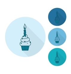 Cupcake with candle vector