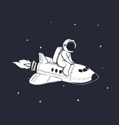 Cute astronaut flies on shuttle in outer space vector