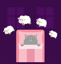 Cute sleeping gray cat jumping sheeps cant sleep vector