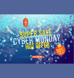 cyber monday web banner for sale with sticker vector image