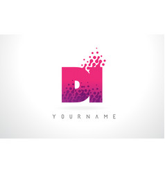 di d i letter logo with pink purple color and vector image