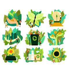 ecological restoration icons set vector image