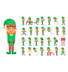 elf girl christmas santa claus helper in different vector image