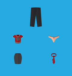 Flat icon dress set of t-shirt pants cravat and vector
