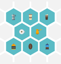 Flat icons arabica bean french press ibrik and vector