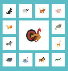 Flat icons gobbler hound pony and other vector