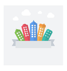 flat of modern cityscape with text area vector image